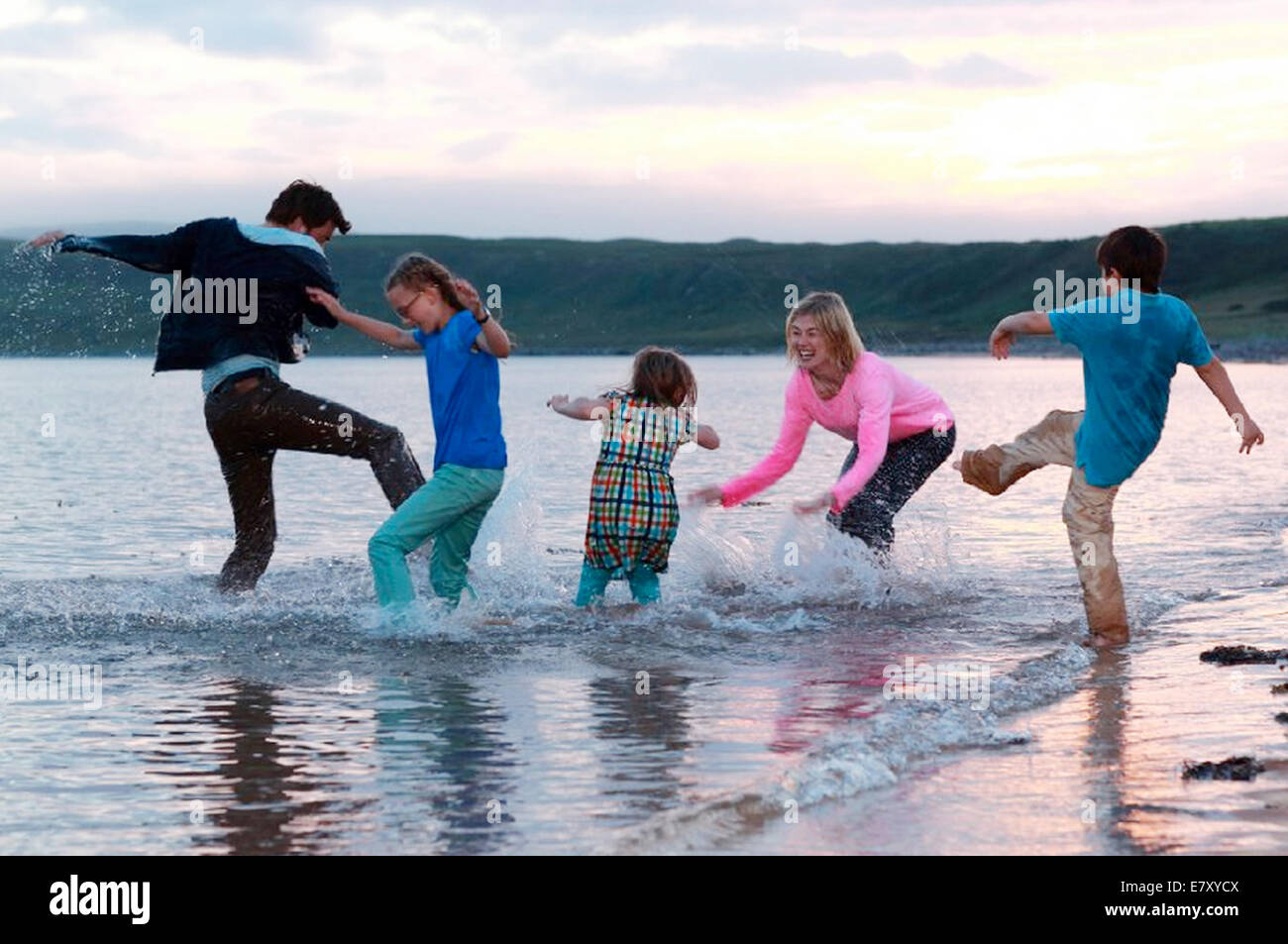 WHAT WE DID ON OUR HOLIDAY 2014 BBC Films production  with Rosamund Pike and David Tennant - Stock Image
