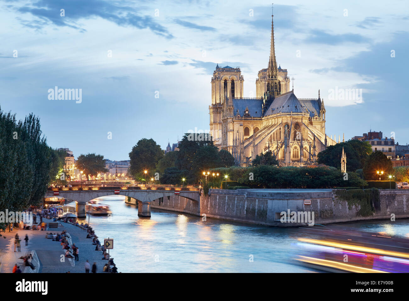 The Cathedral of Notre Dame de Paris in the evening, France Stock Photo