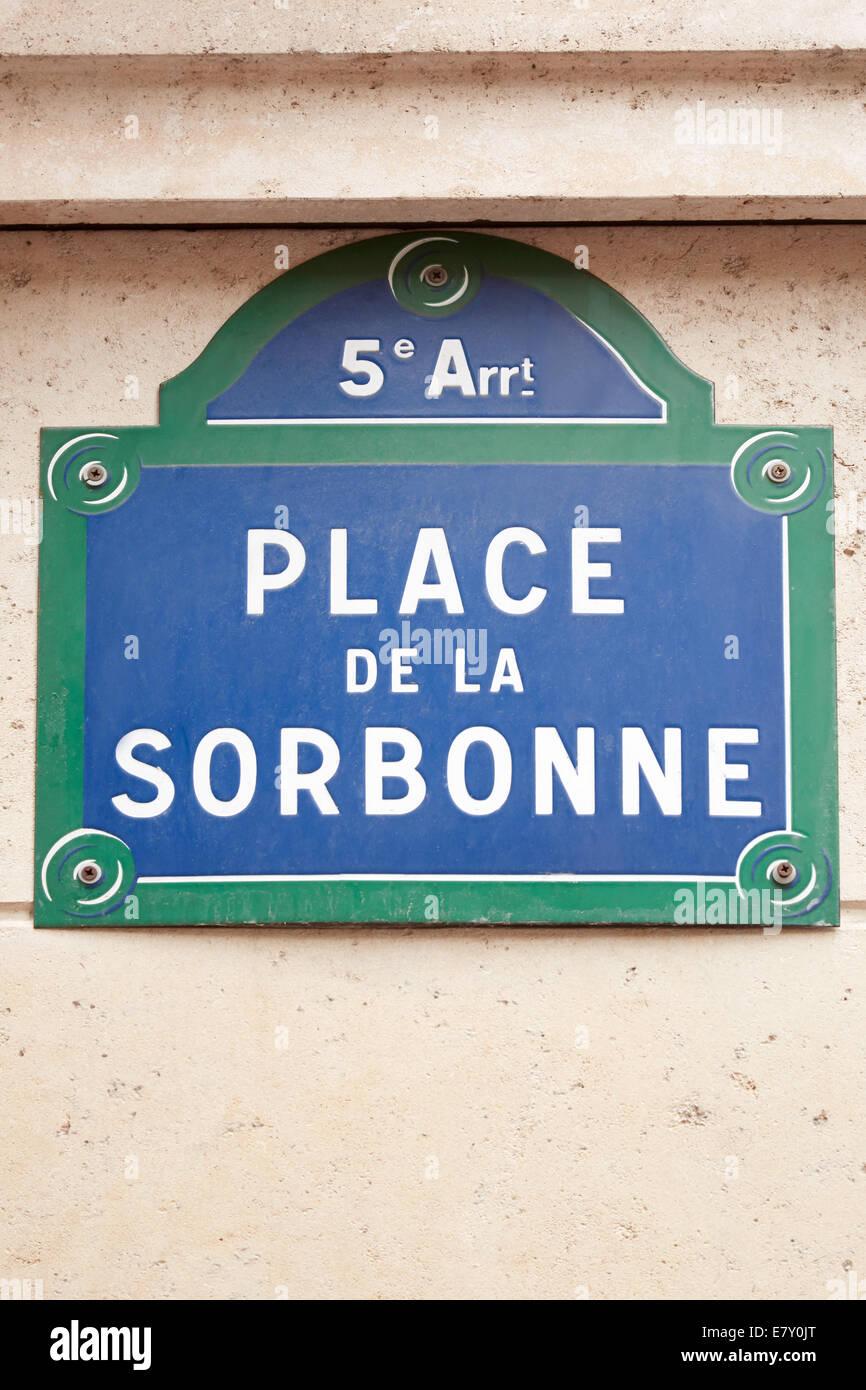 Sorbonne university street sign in Paris - Stock Image