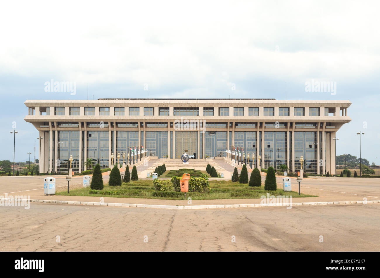 Building of the Fondation Félix Houphouet-Boigny in Yamoussoukro, Côte d'Ivoire (Ivory Coast), a research - Stock Image