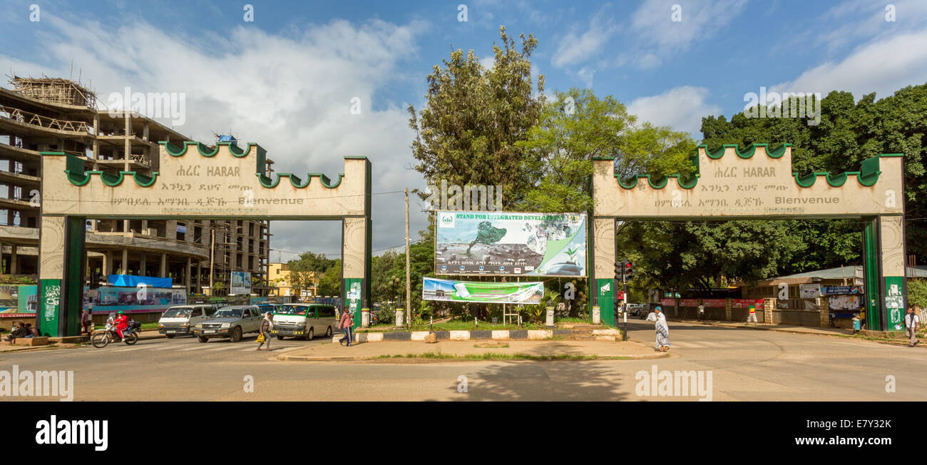 HARAR, ETHIOPIA - JULY 26,2014 - Two Gates with welcoming messages are placed at the border of the city of Harar. - Stock Image