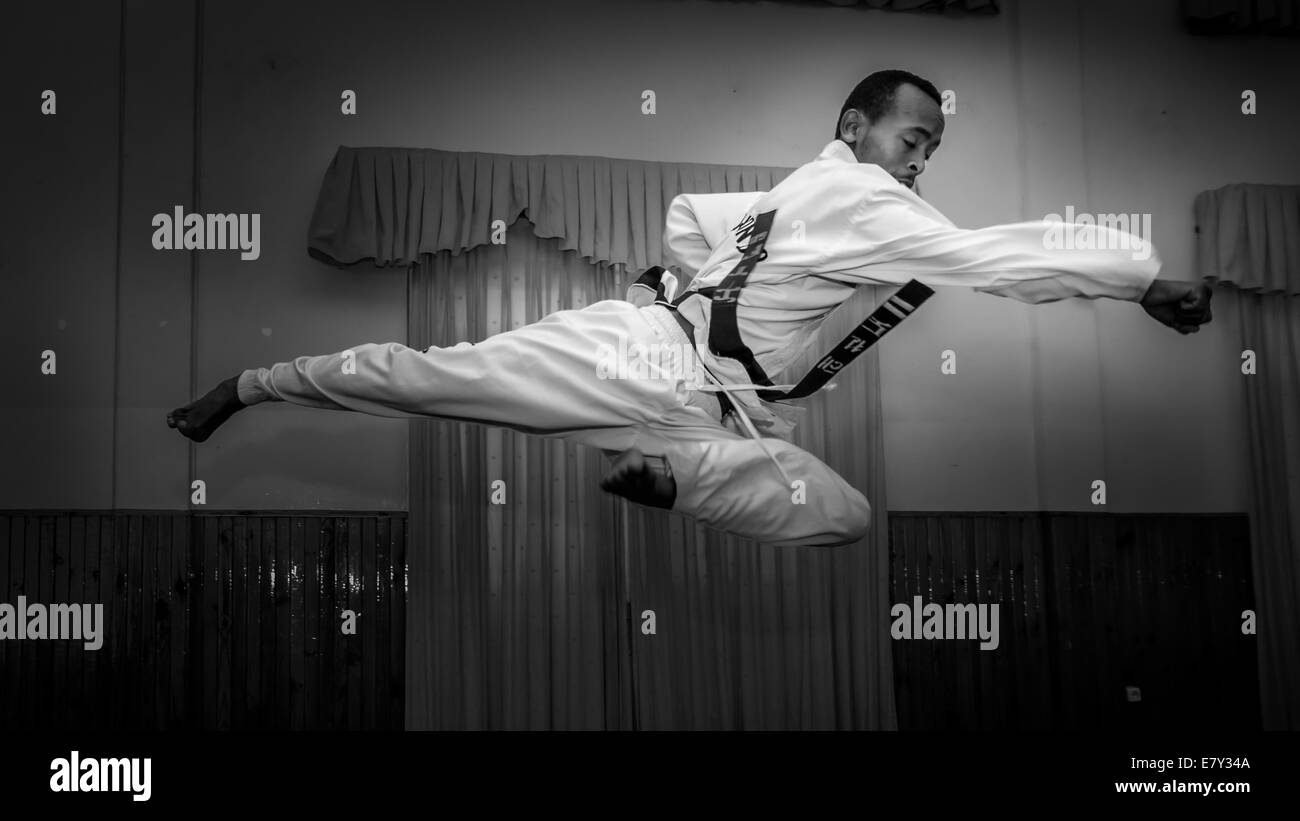 A young man practicing his Taekwondo kick - Stock Image