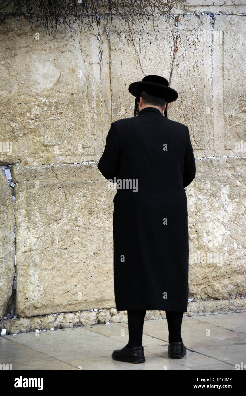 Haredi Judaism. Orthodox Judaism. A Jew praying at the Western Wall. Jerusalem. Israel. - Stock Image