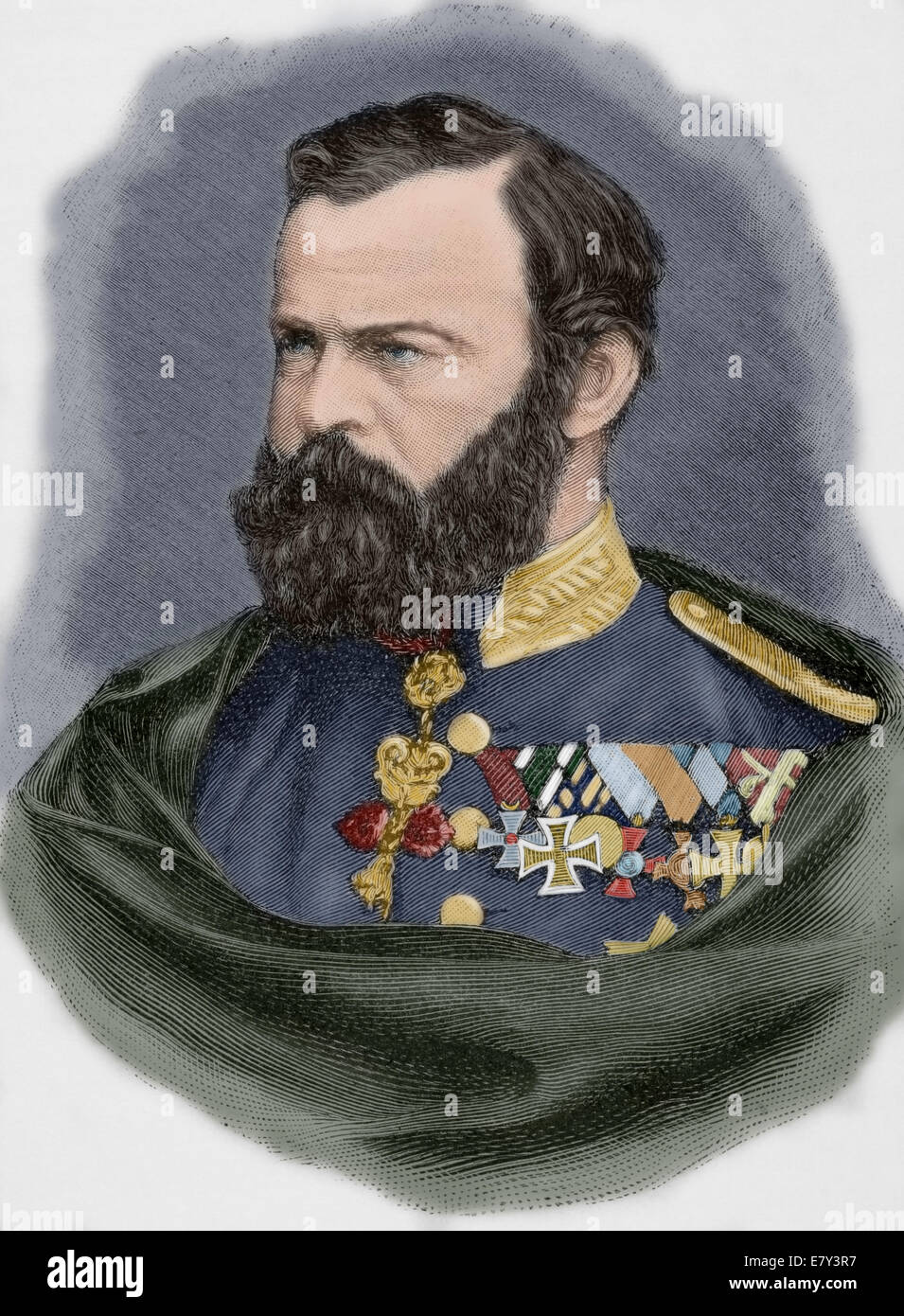 Prince Luitpold of Bavaria (1821-1912). Prince regent and de facto King of Bavaria. Engraving. Universal History, - Stock Image