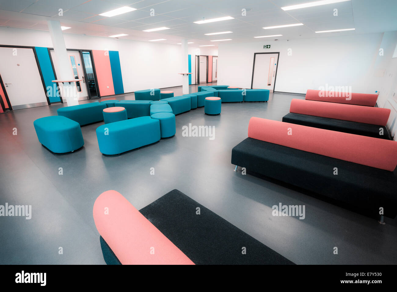 Soft furnishings in the reception area of Teddington Sixth Form College. - Stock Image