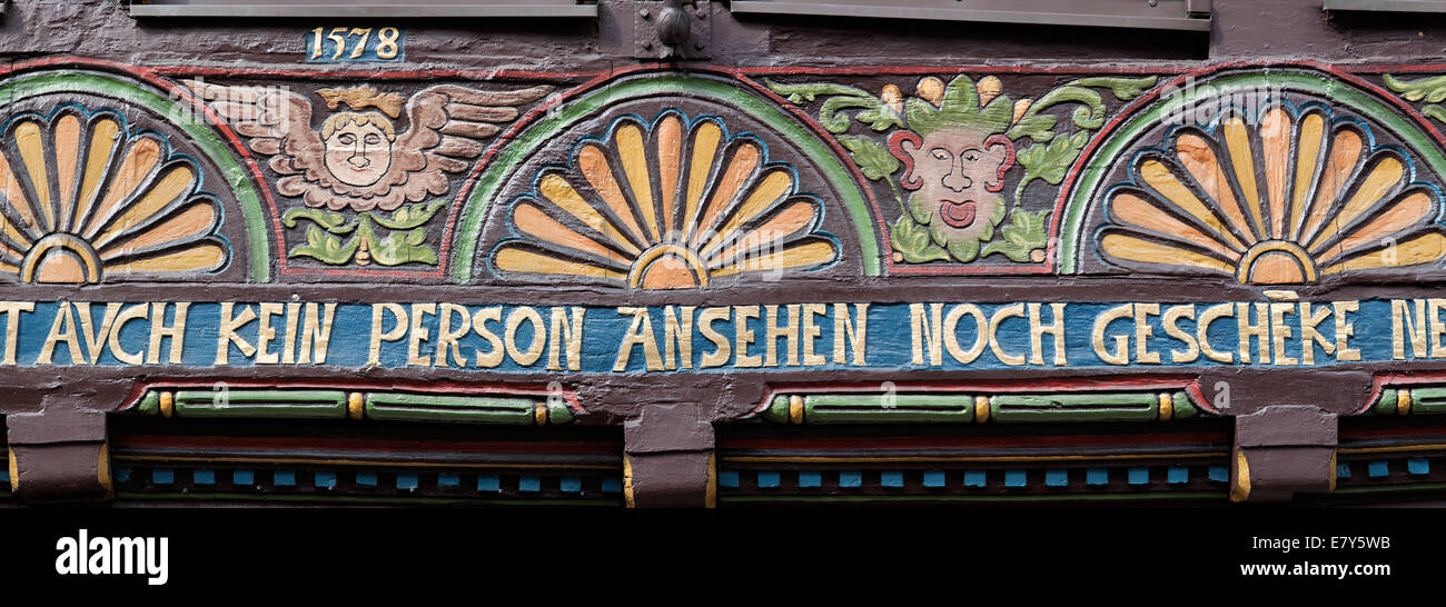 Half-timbered house, Weser Renaissance style, Hoexter, Weser Uplands, North Rhine-Westphalia, Germany, Europe, - Stock Image