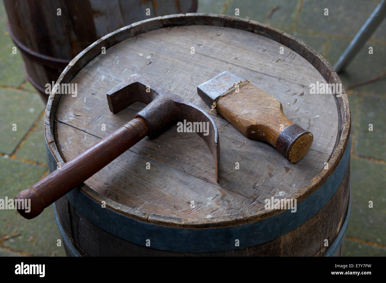 Traditional tools of a barrel-maker in Holland - Stock Image