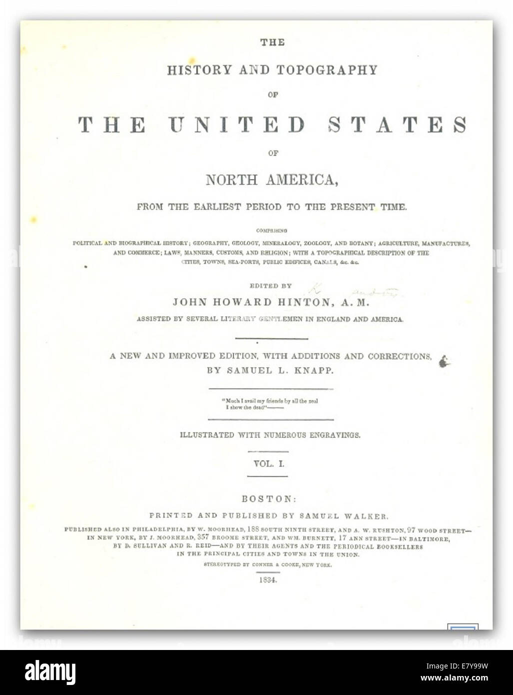 HINTON(1834) History and Topography of the United States - Stock Image