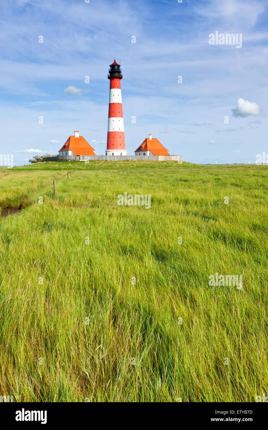 Westerheversand lighthouse at the salt marsh of Schleswig-Holstein - Stock Image