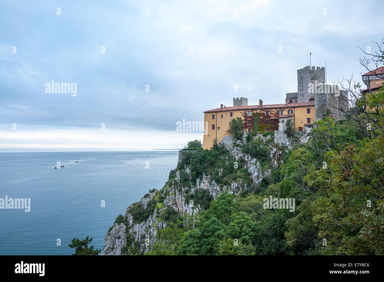 Castello di Duino castle on Adriatic coast of Italy - Stock Image