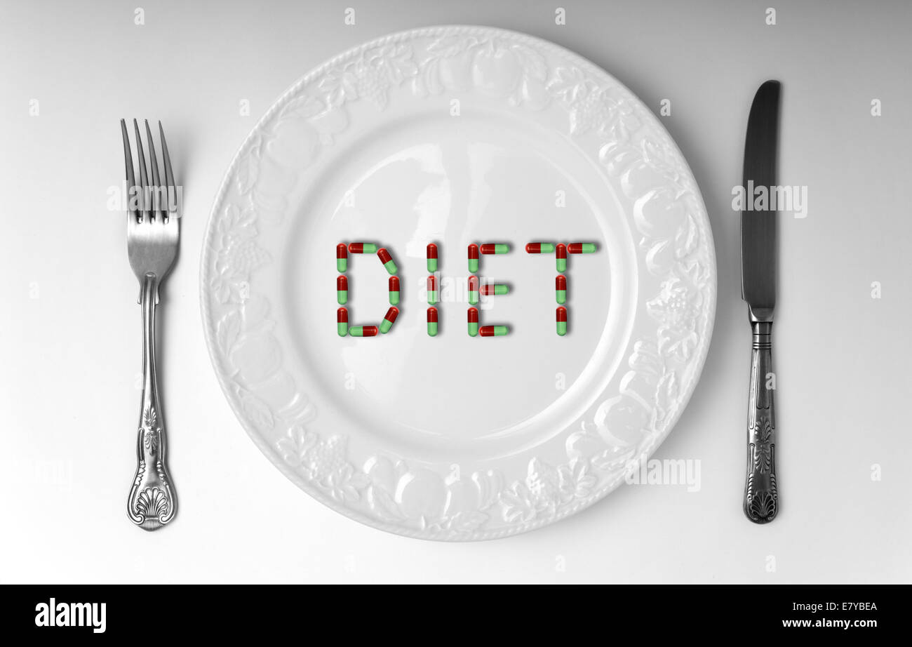 Pills on a plate spelling diet. - Stock Image