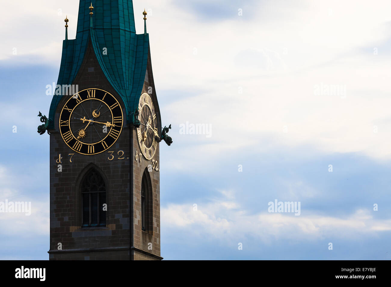 Zurich landmarks: the St. Peter Church, the Lady Minster (German: Fraumunster) - Stock Image