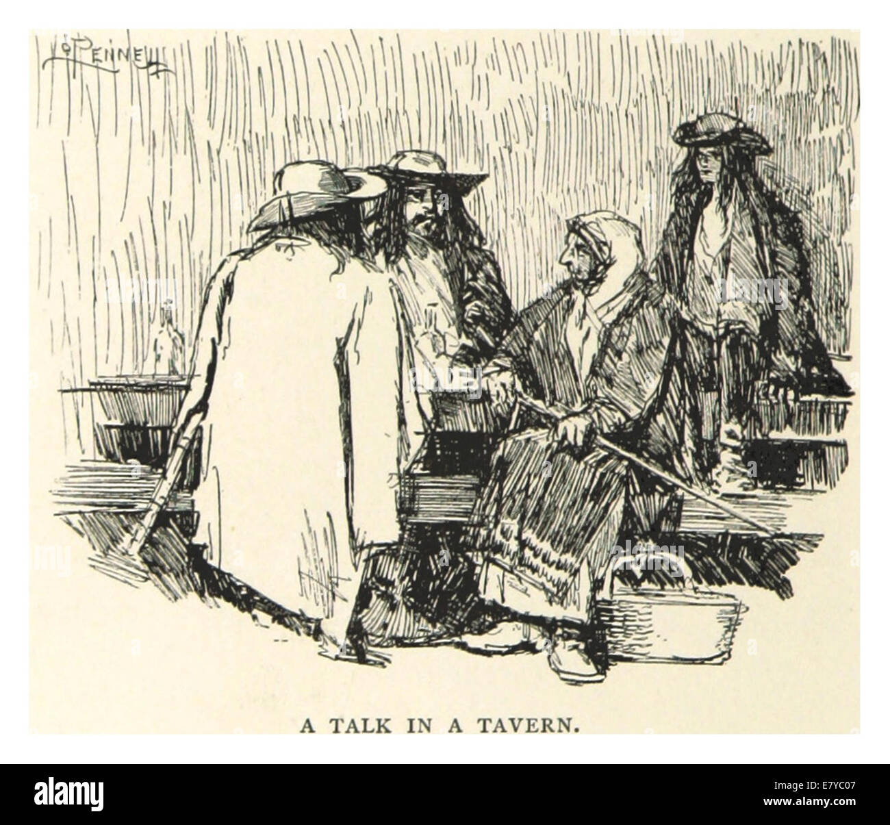 PENNELL(1893) p216 - A TALK IN A TAVERNE Stock Photo