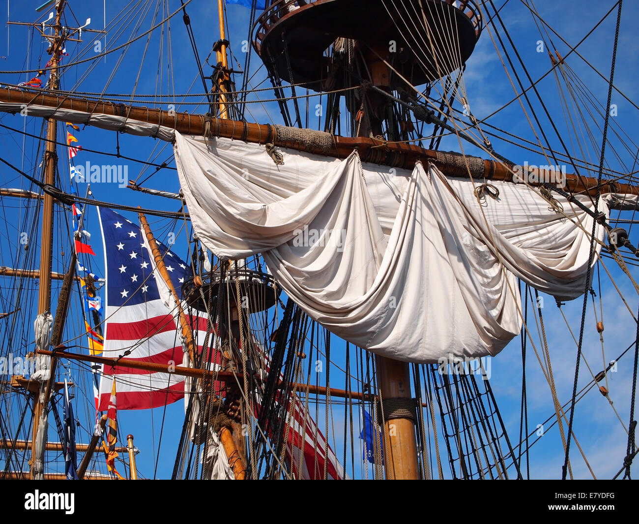 Looking up into the rigging and masts of a tall ship, a
