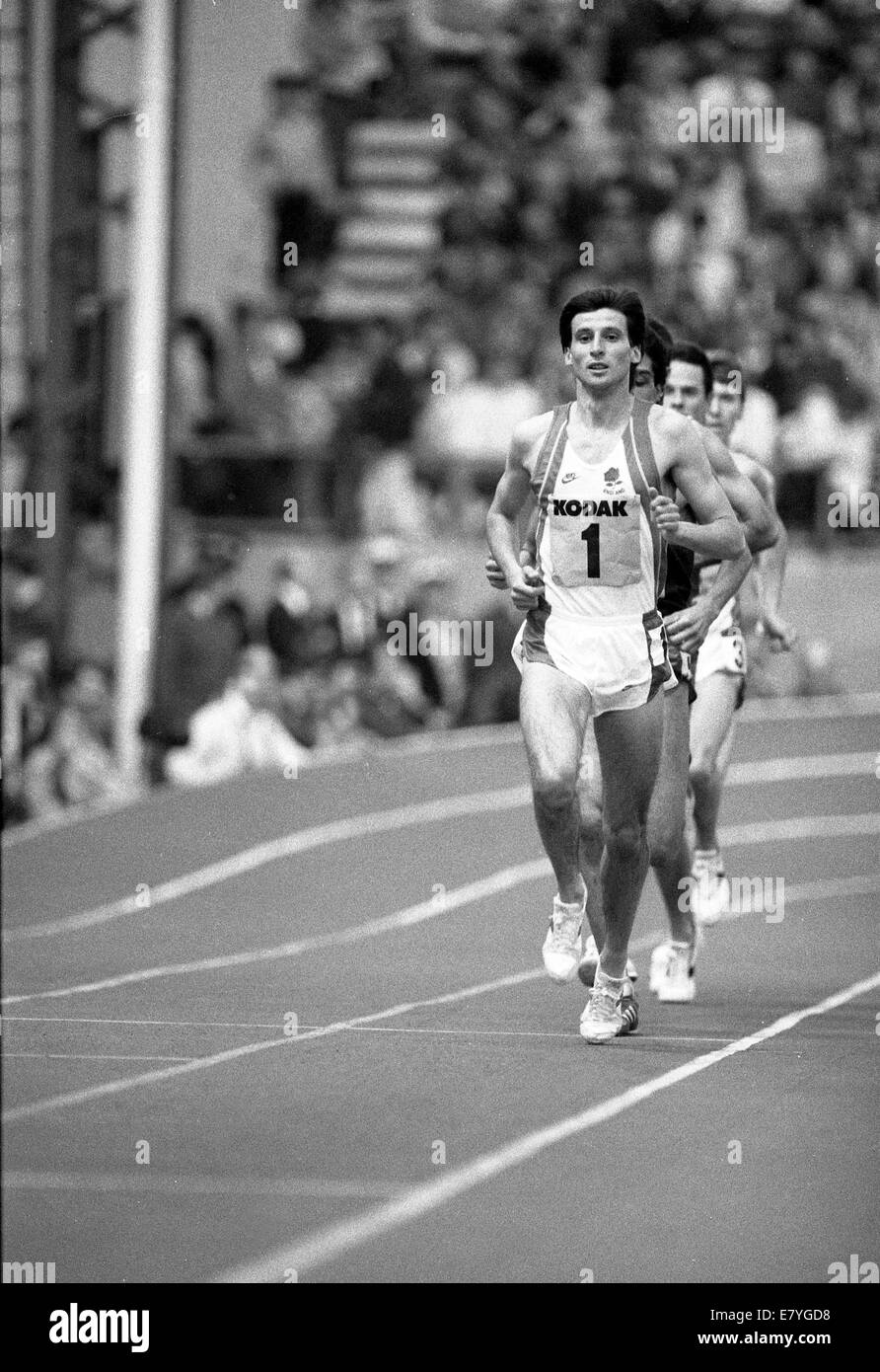 Sebastian Seb Coe running Kodak Classic Athletics Britain v USA at RAF Cosford 8th March 1986 - Stock Image