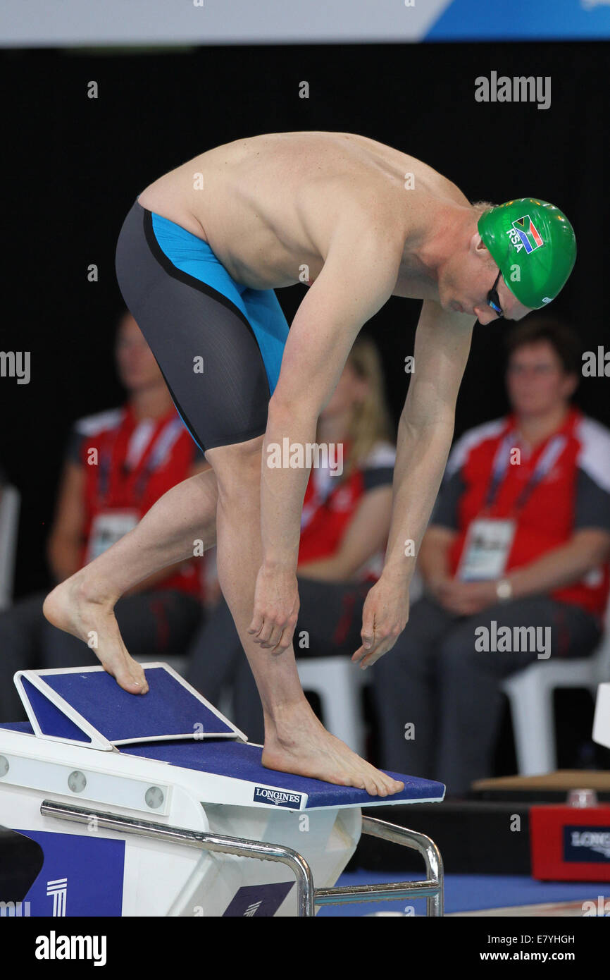 Craig GROENEWALD of South Africa in the Swimming in the Mens ParaSport 200m Freestyle S14 Final at the 2014 Commonwealth - Stock Image