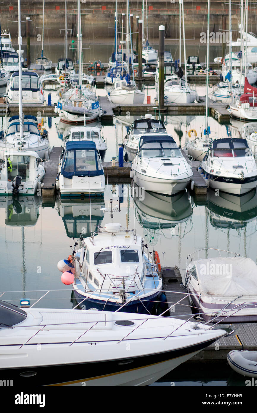 Yachts and sailing Vessels at the Marina in Brighton england - Stock Image