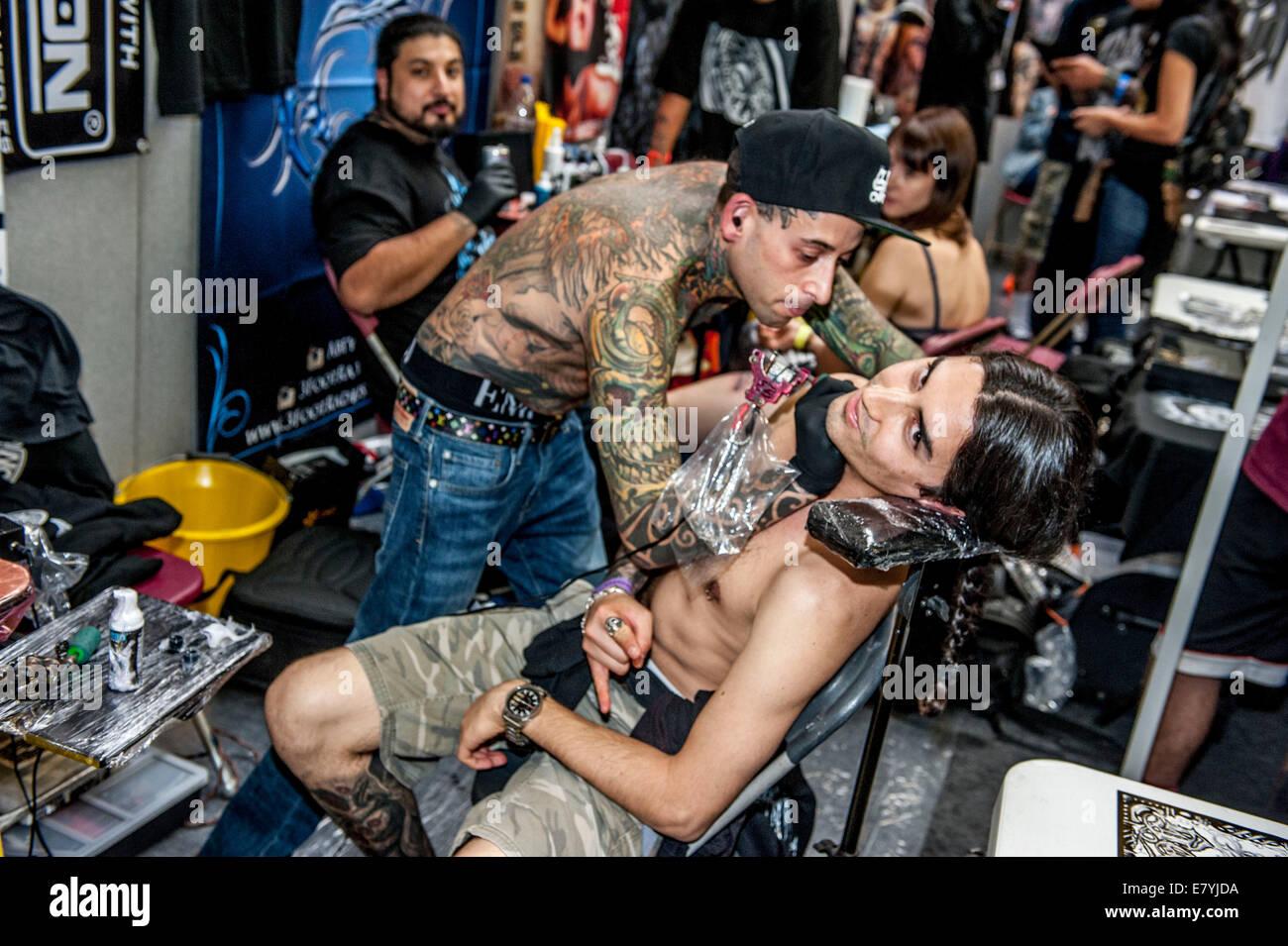 London, UK. 26th Sep, 2014. 10th International Tattoo Convention Tobacco Dock , London UK Friday 26 September - Stock Image