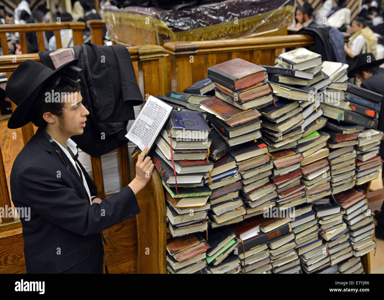 At a synagogue in the Crown Heights section of Brooklyn, New York, a