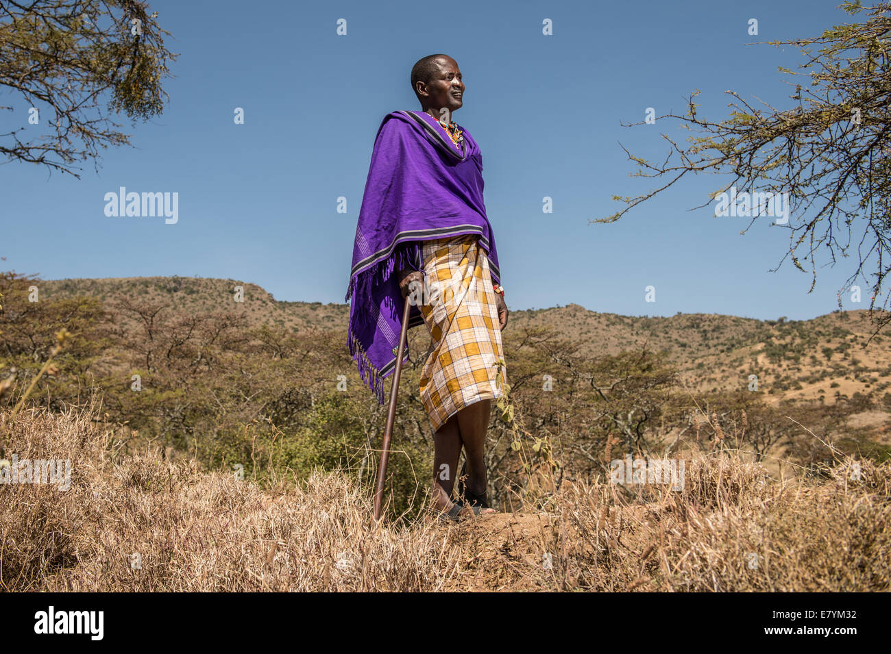 Kisio Randisa, a driver for Northern Rangelands Trust at his home outside of Lewa Wildlife Conservancy which serves - Stock Image