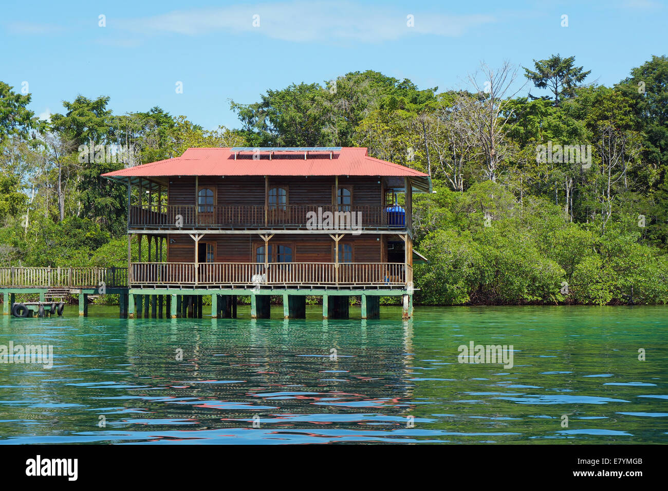Off grid Caribbean house over water and solar powered, Panama, Central America - Stock Image