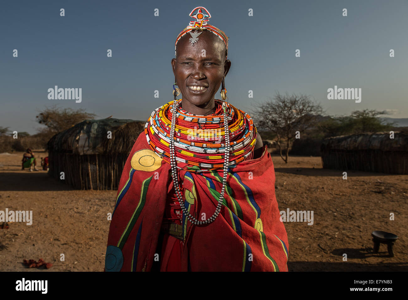 Sitila Nelchamus, a Samburu woman, makes beaded products in West Gate Conservancy.  One of NRT's main focuses is - Stock Image