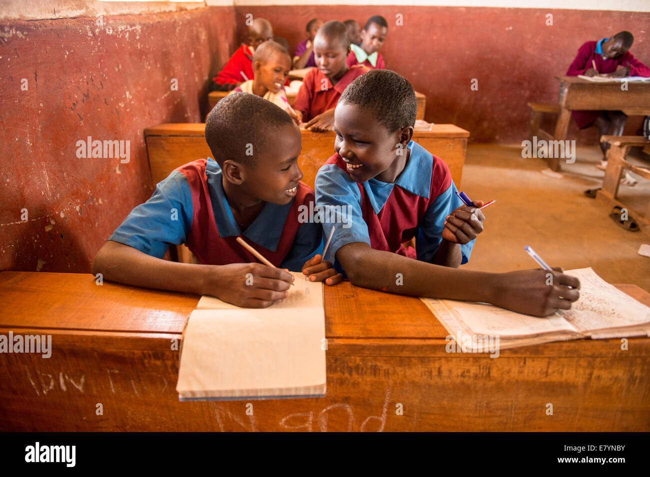 Samburu children  at West Gate Conservancy School.  All the families are pastoralists, whose livelihoods have traditionally - Stock Image