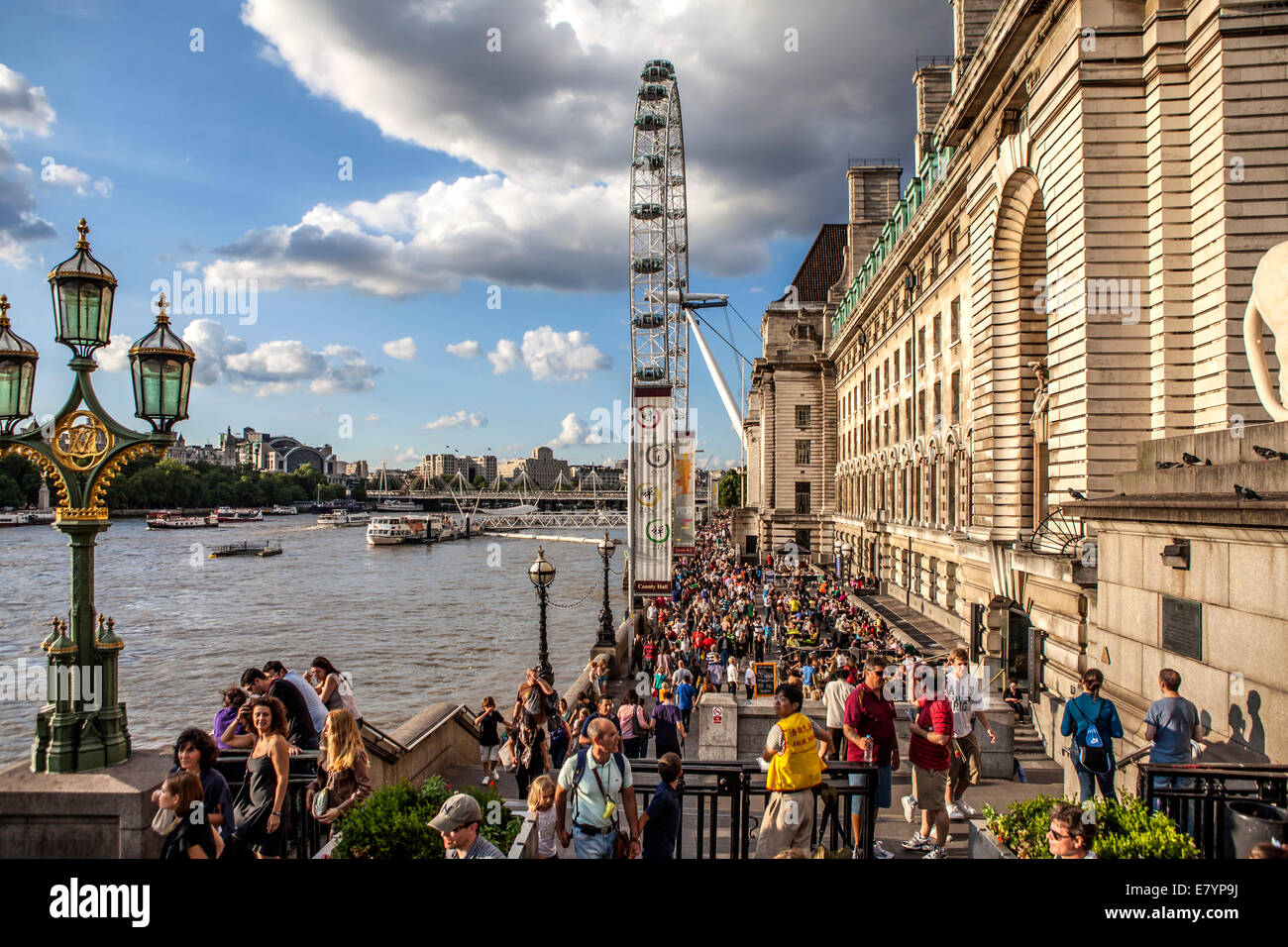 View of the London big wheel (London Eye) with Thames River and London Aquarium - Stock Image