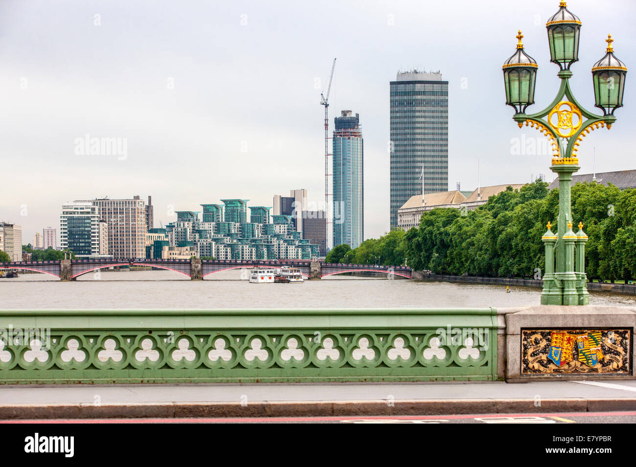 Vauxhaul is a Part of the London area  in the Borough of Lambeth. Taken from Westminster Bridge. - Stock Image