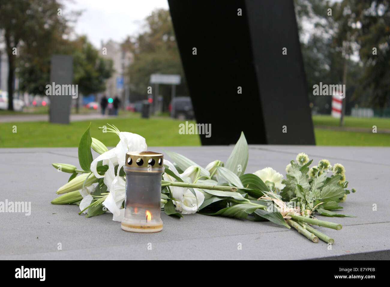 Tallinn, Estonia. 26th Sep, 2014. First candles have been lit at Memorial to the Estonia statue in Tallinn for 20 - Stock Image