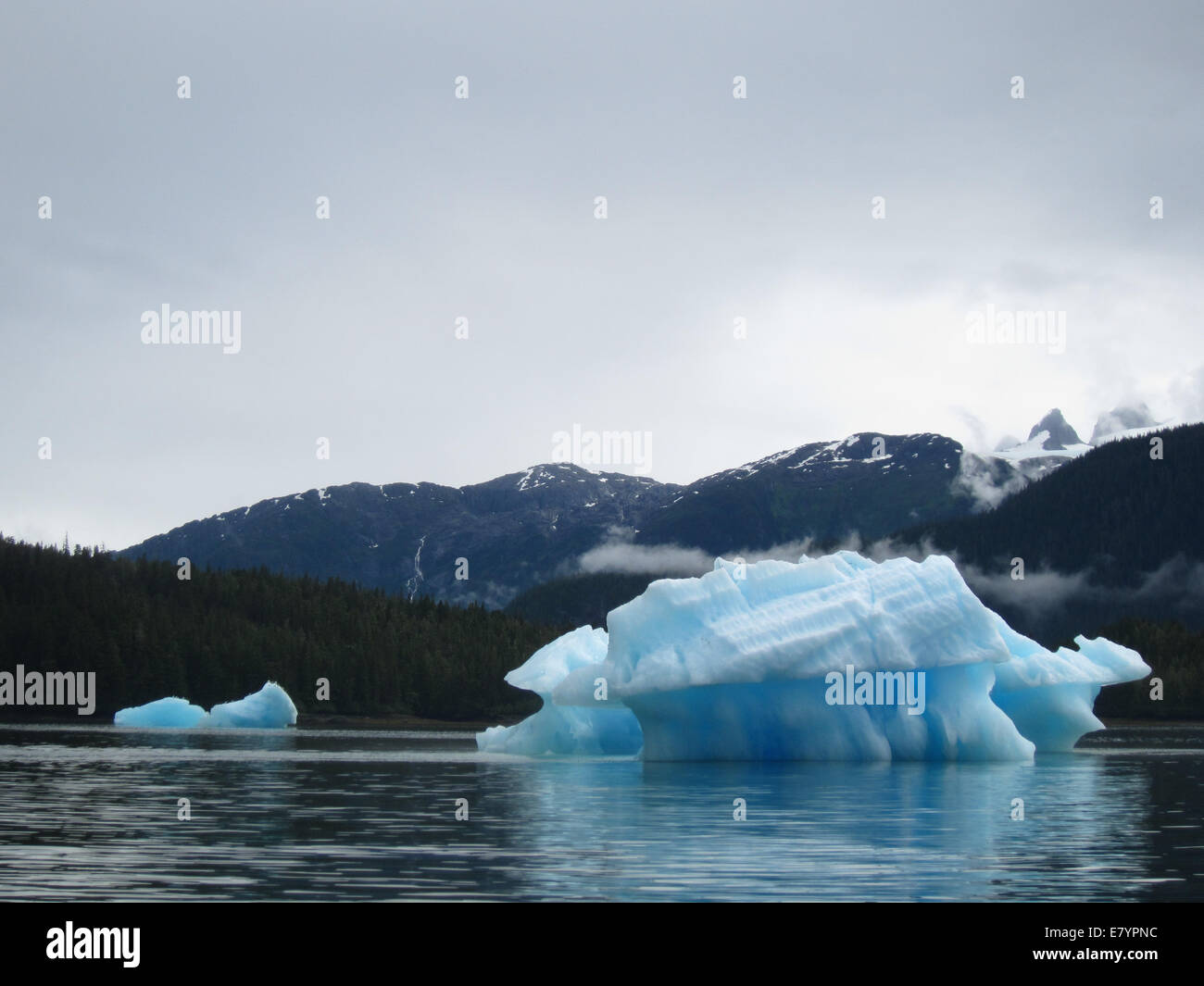 A pair of icebergs in LeConte Fjord, Tongass National Forest, Alaska. - Stock Image