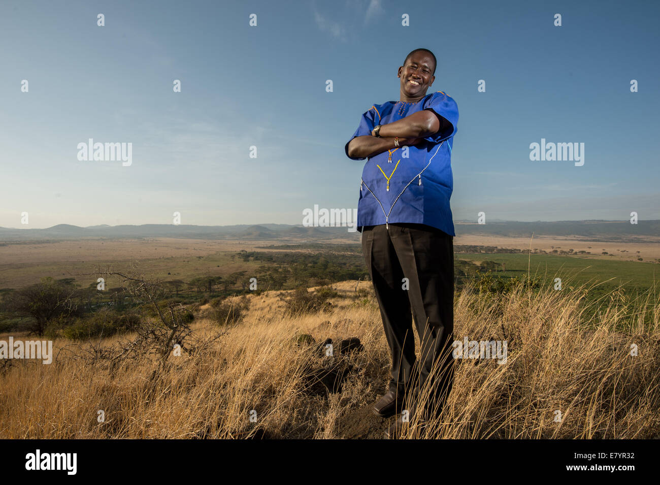 Tom Lalampaa, a Samburu who became a community development manager for the Northern Rangelands Trust (NRT),  is - Stock Image