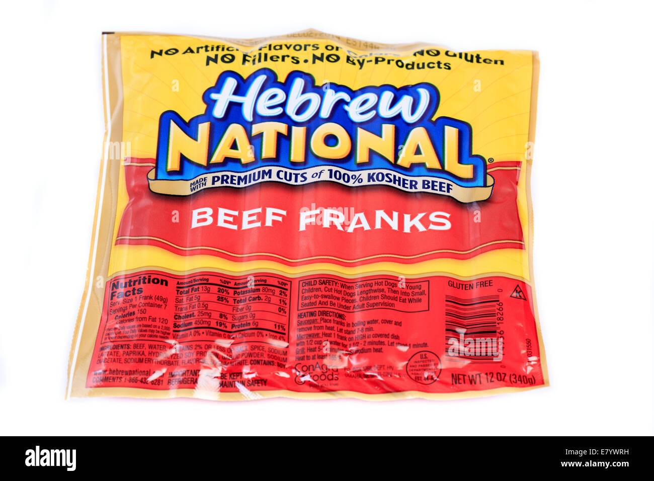 Hebrew National beef hot dog franks - Stock Image