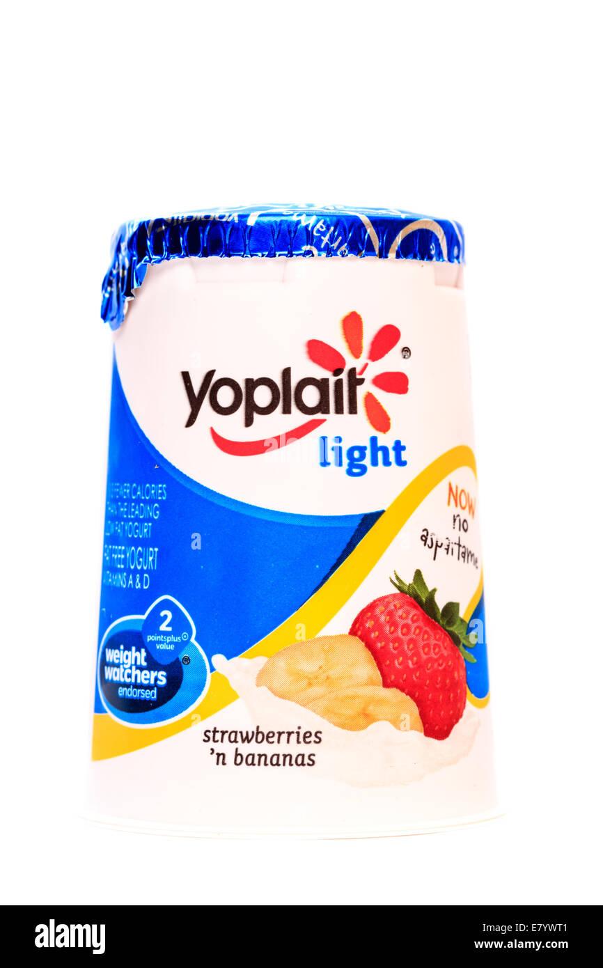 Yoplait Light Strawberries 'n Bananas Yogurt - Stock Image