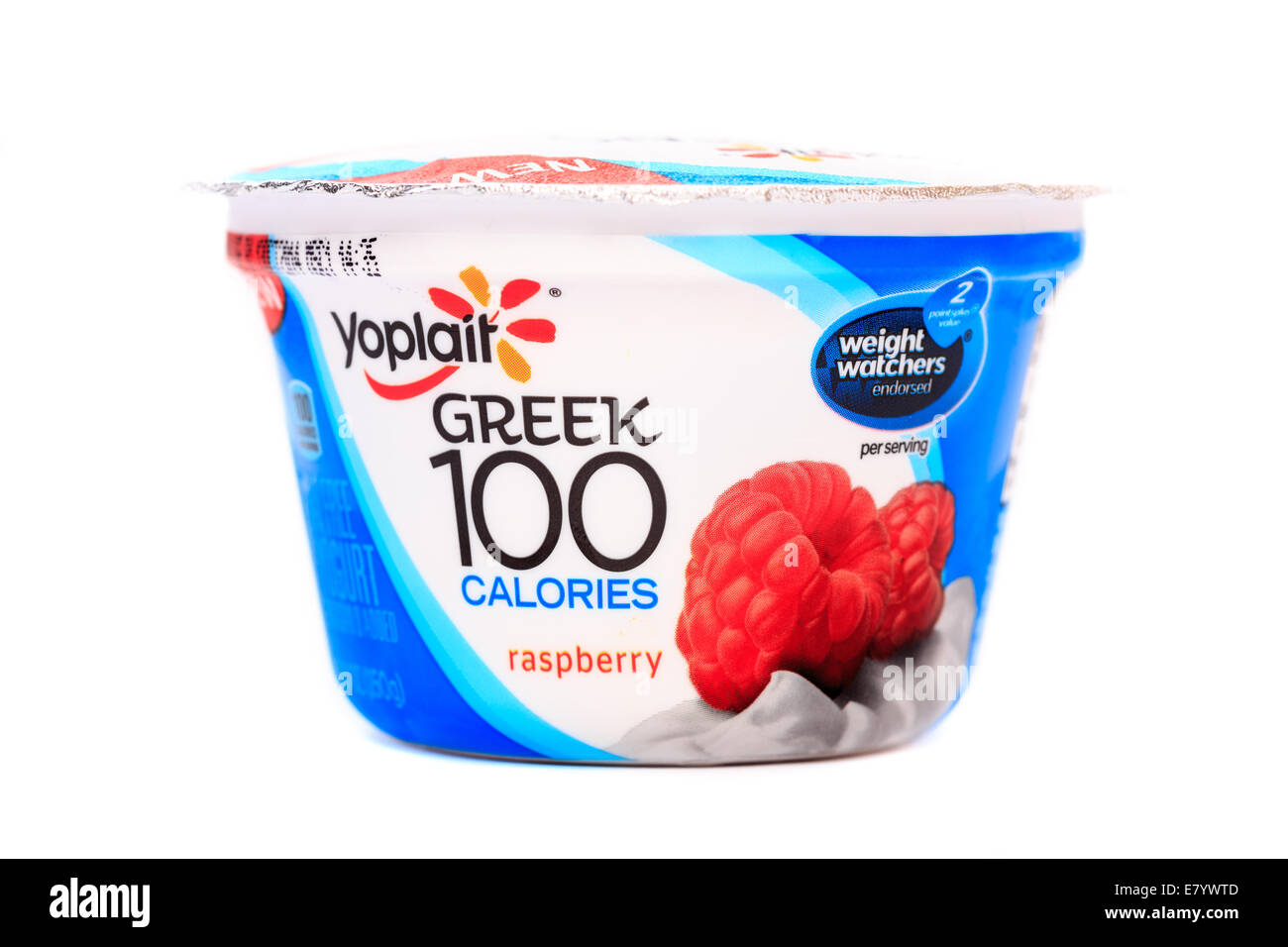 Yoplait Greek Raspberry Yogurt - Stock Image