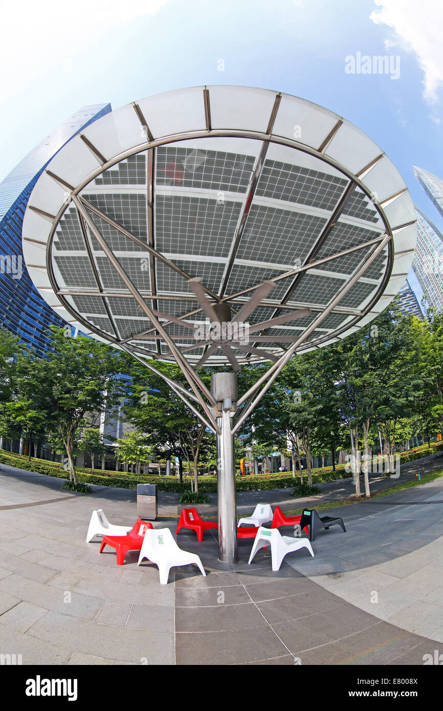 Outdoor air conditioning cooling fans on the waterfront in Singapore, Republic of Singapore - Stock Image