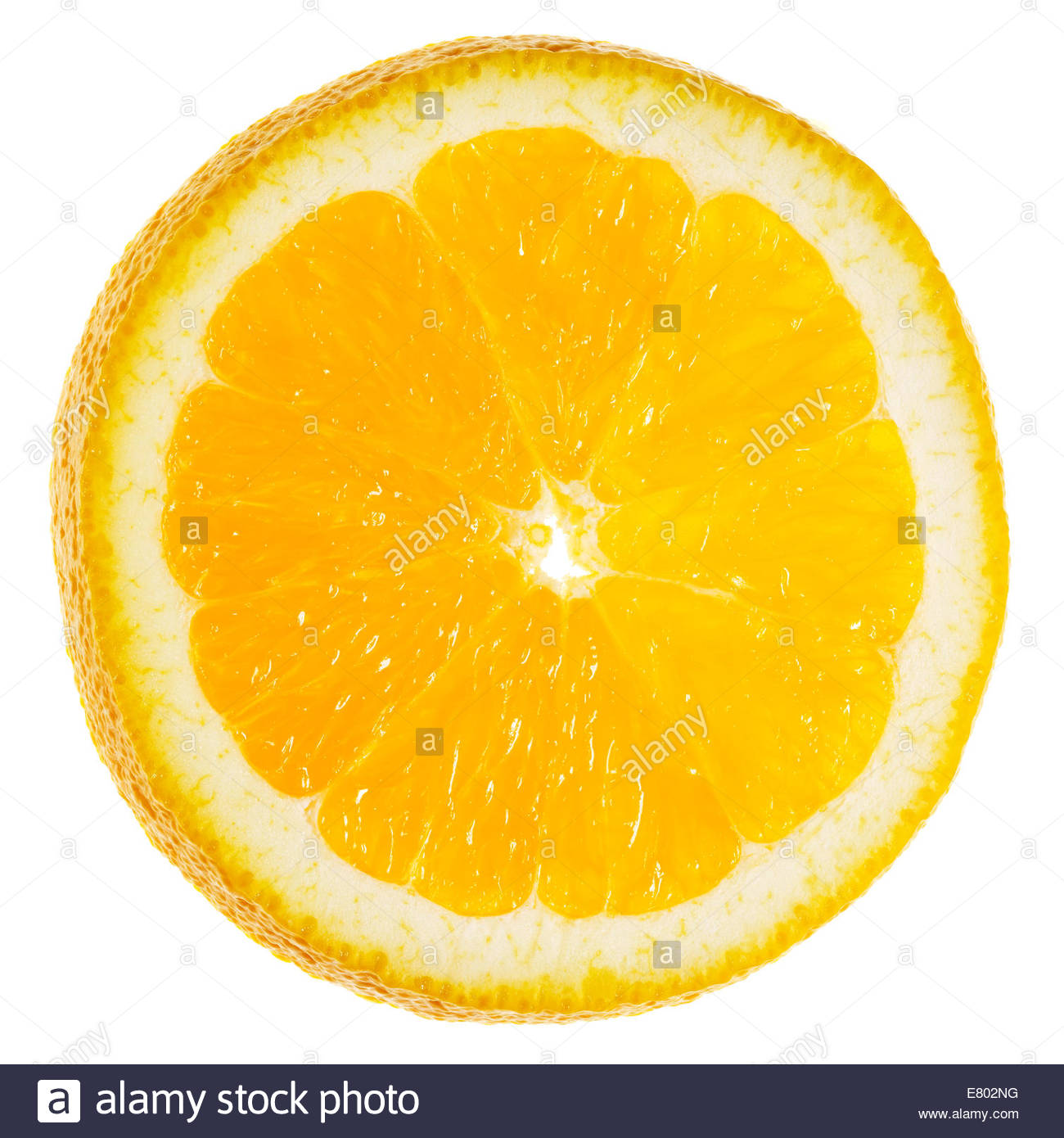 Slices of fresh shiny orange or tangerine over white background. - Stock Image