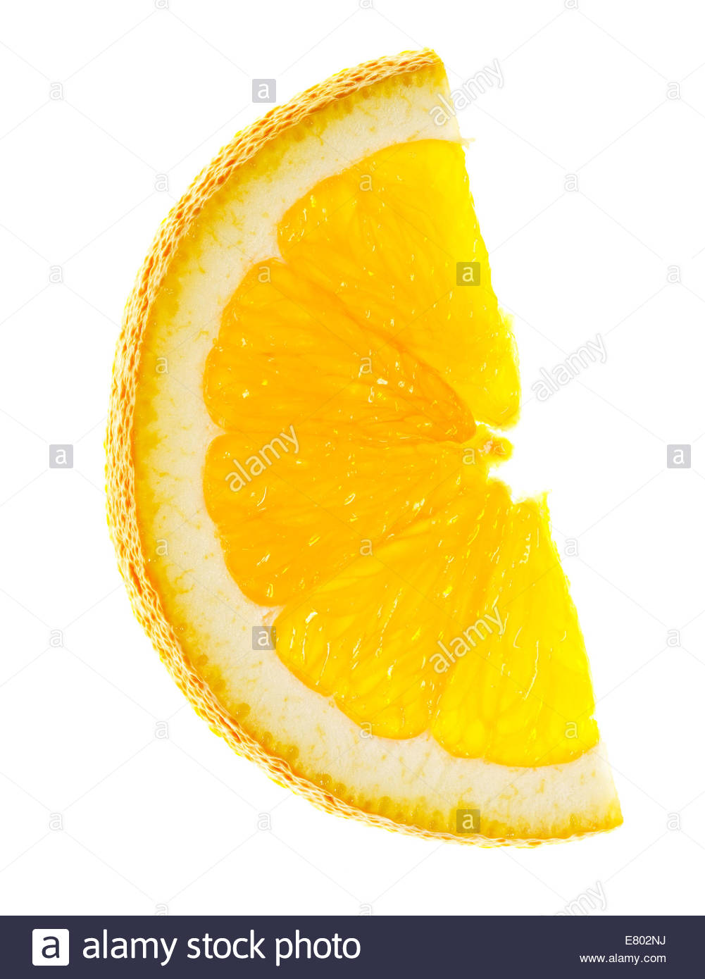 Slices of fresh shiny orange or tangerine over white background. - Stock Image