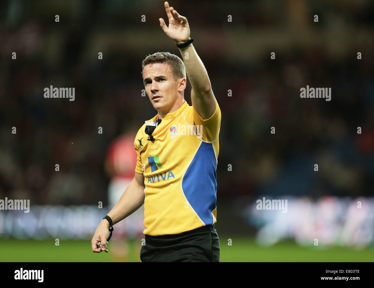 Oxford, UK. 26th Sep, 2014. Aviva Premiership. Senior match official Luke Pearce during the Aviva Premiership rugby - Stock Image