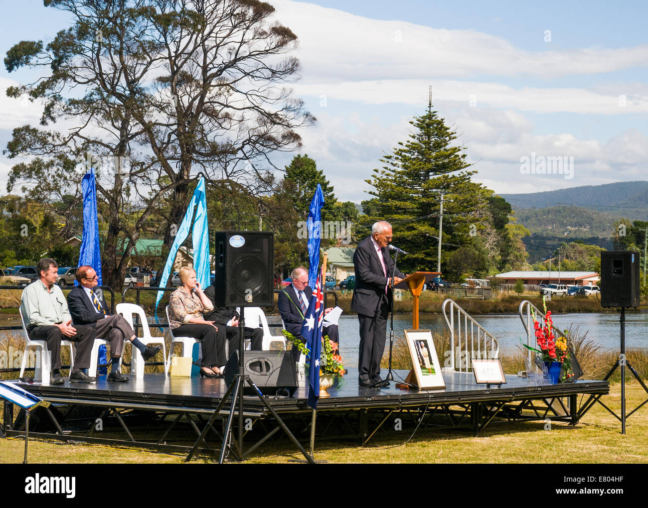 Local dignitary speaking at an Australian citizenship ceremony staged in Kingston, Tasmania, on Australia Day, January - Stock Image