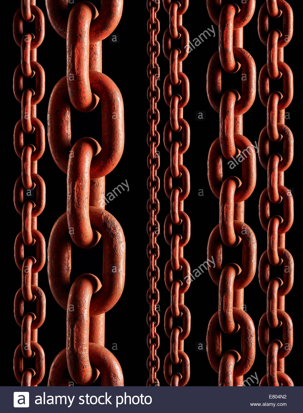 RED INDUSTRIAL heavy strength chain - Stock Image