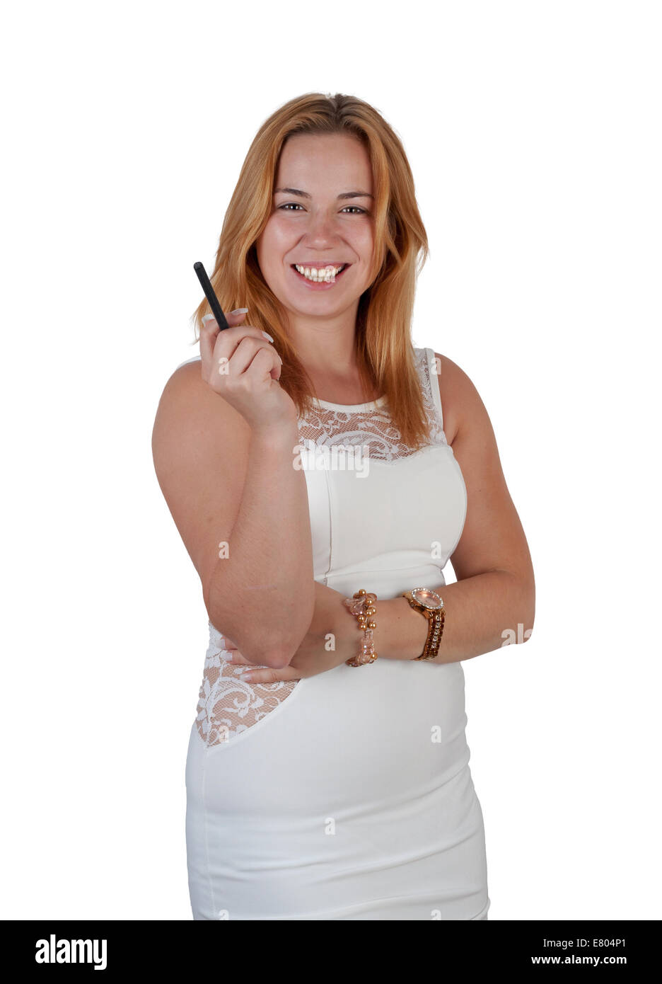 Beautiful young smiling woman in white dress with black e-cigarette. Isolated on white - Stock Image