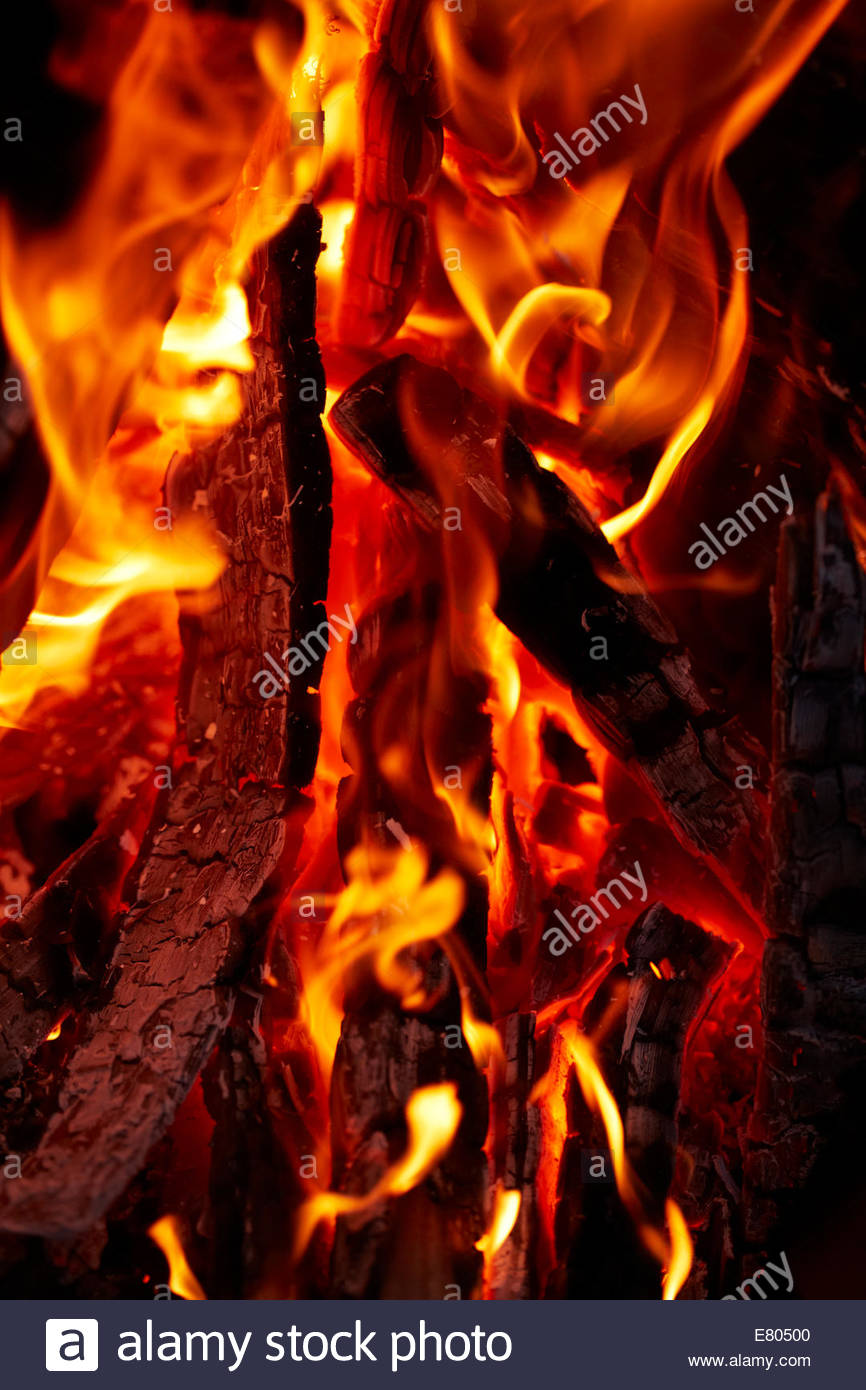 red flame on logs - Stock Image