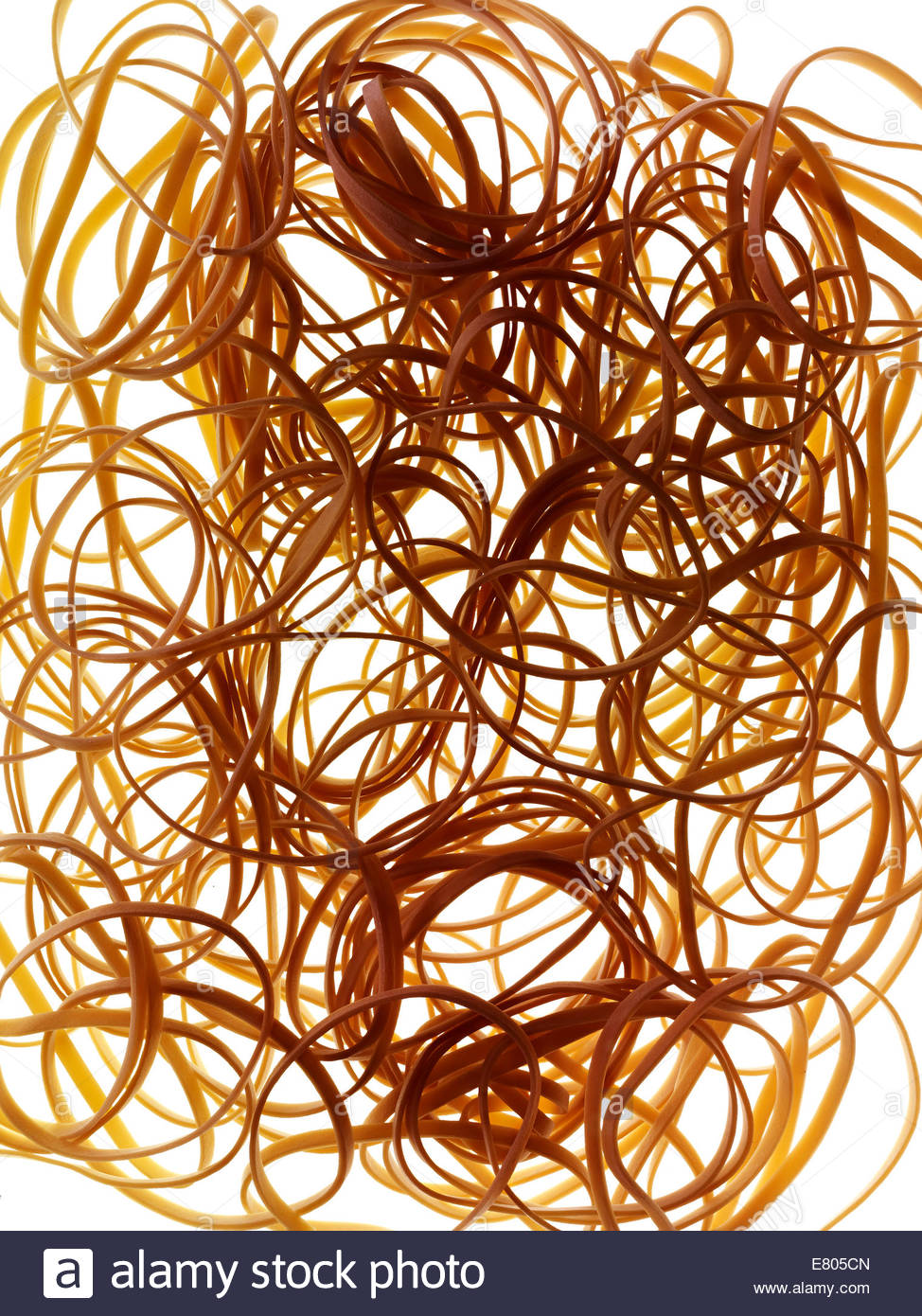 Studio shot of a bed of Rubber bands on white background - Stock Image