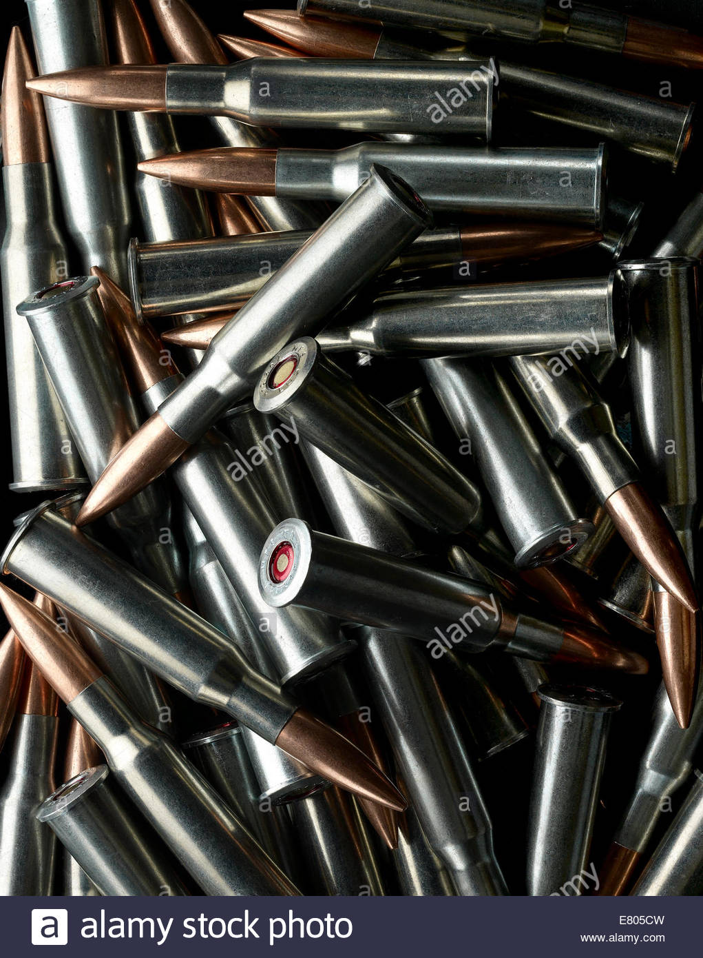 Still life of a pile of bullets - Stock Image