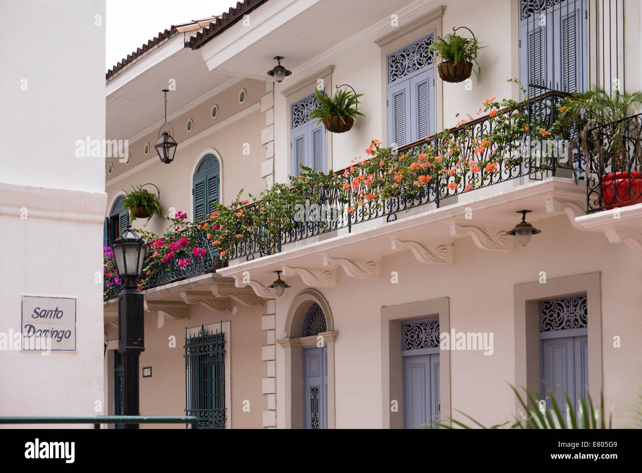 Tourist attractions and destination scenics. View of pictouresque street of Casco Antiguo, Panama City - Stock Image