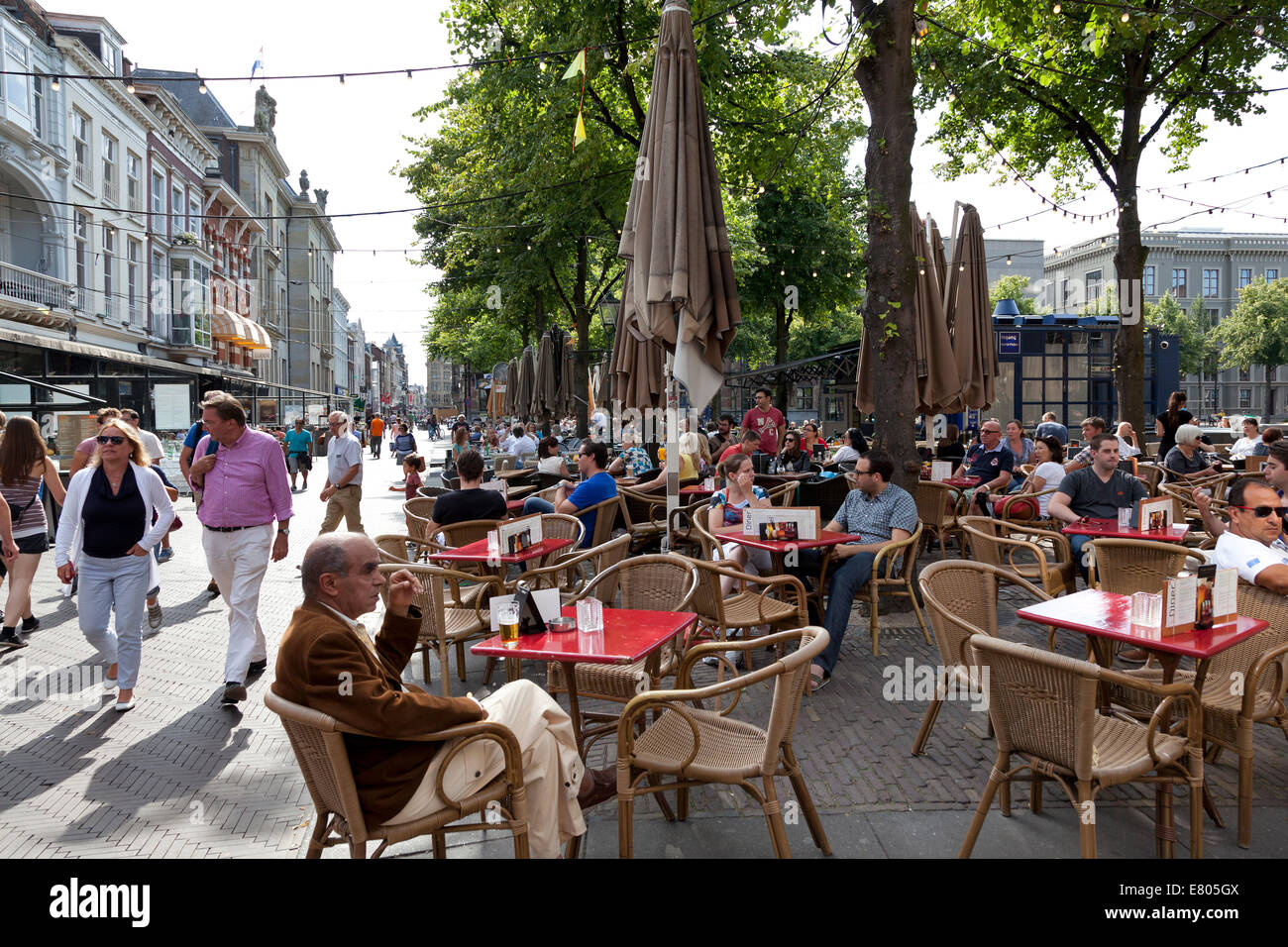 Terrace on Plein in The Hague,Holland - Stock Image