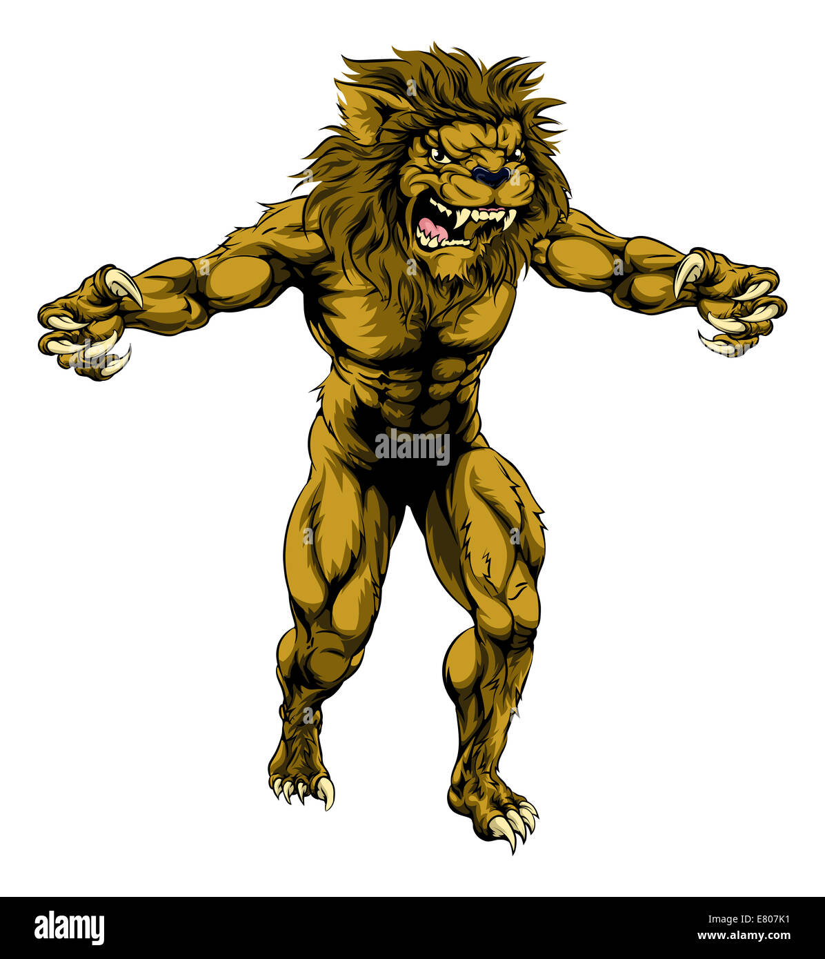 An illustration of a Lion scary sports mascot with claws out - Stock Image