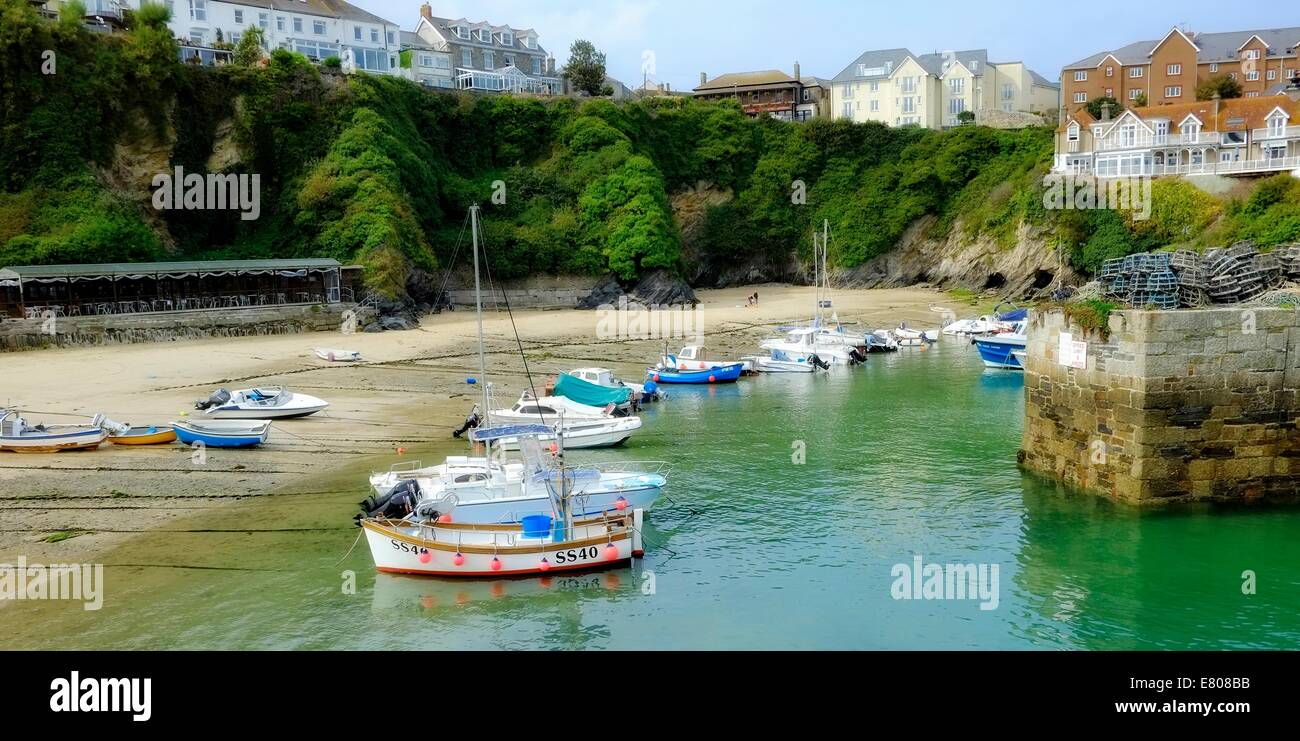Boats in Newquay harbour Cornwall England uk Stock Photo