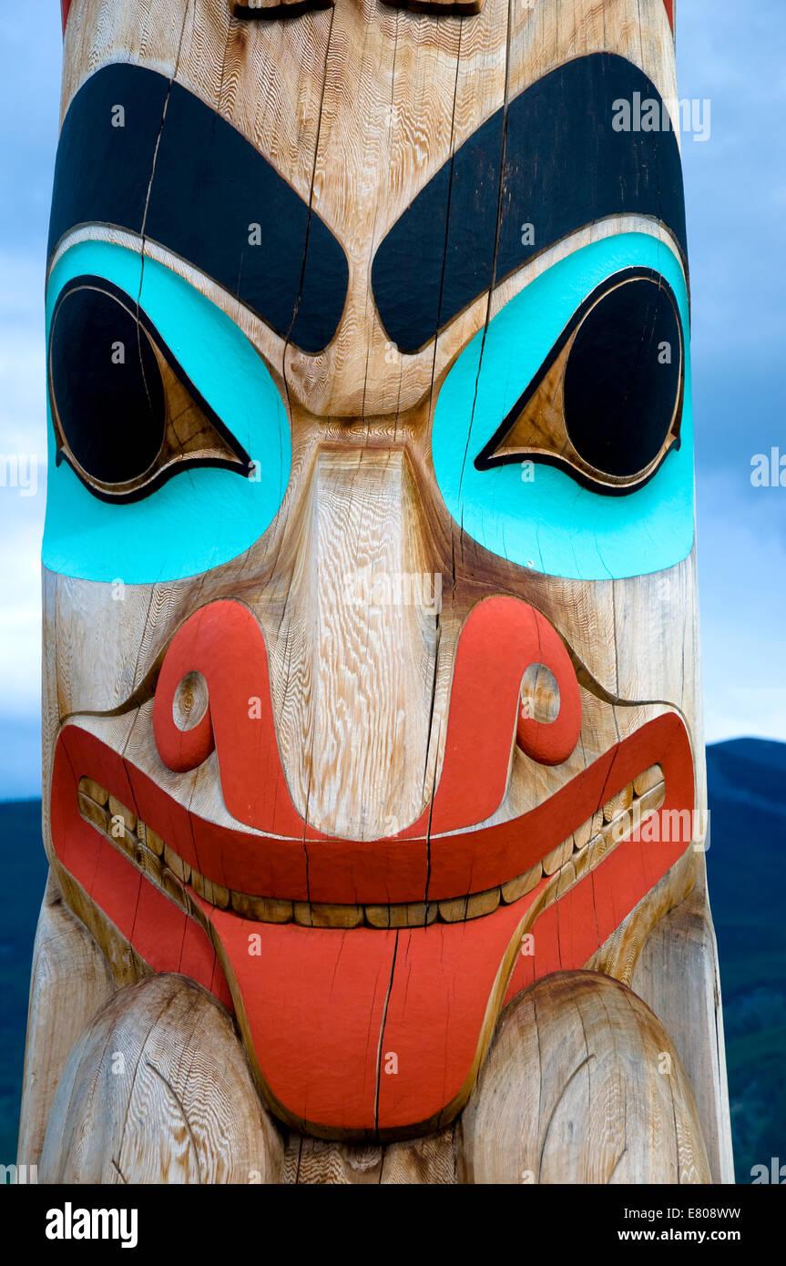 Two Brothers Totem Pole, Jasper National Park, Alberta, Canada - Stock Image